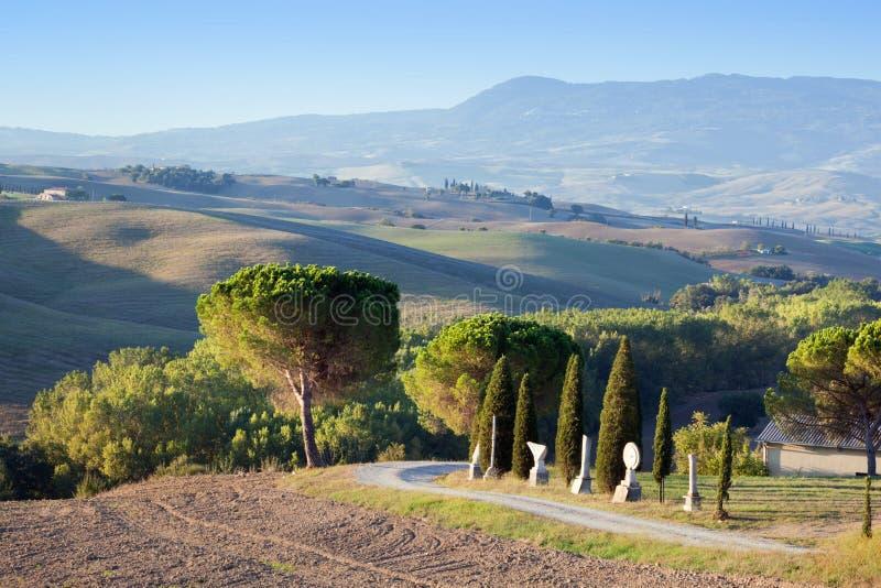 Toskana-Landschaft morgens Toskanische Bauernhöfe, Hügel, Zypressenbäume stockfotografie