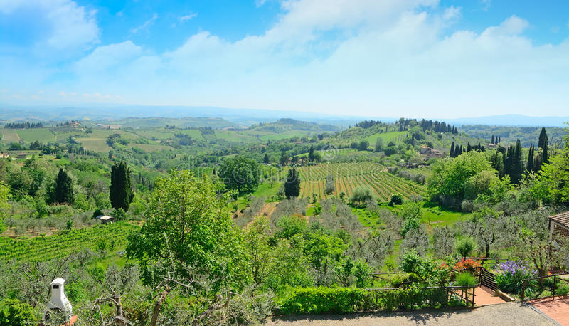 Toskana-Landschaft in San Gimignano stockfoto