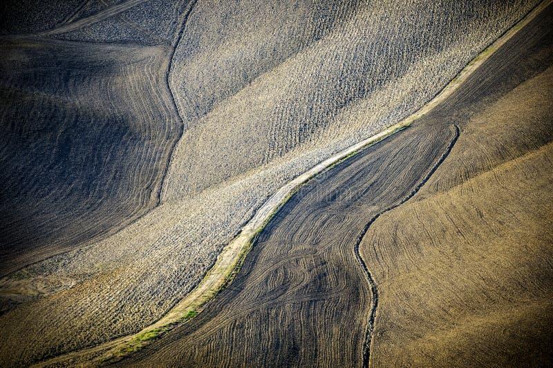 Toskanische Hügel gepflogen nach der Ernte toskanischen Landschaft zwischen Siena und Florenz Italien stockbild