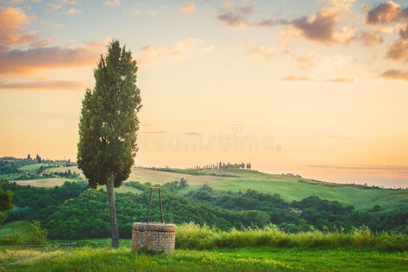 Toskanische Landschaft der Zypresse und des Brunnens stockfotografie