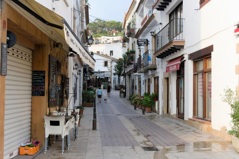 Tossa de Mar, Spain, August 2018. Ordinary residential street in the early morning. royalty free stock photos