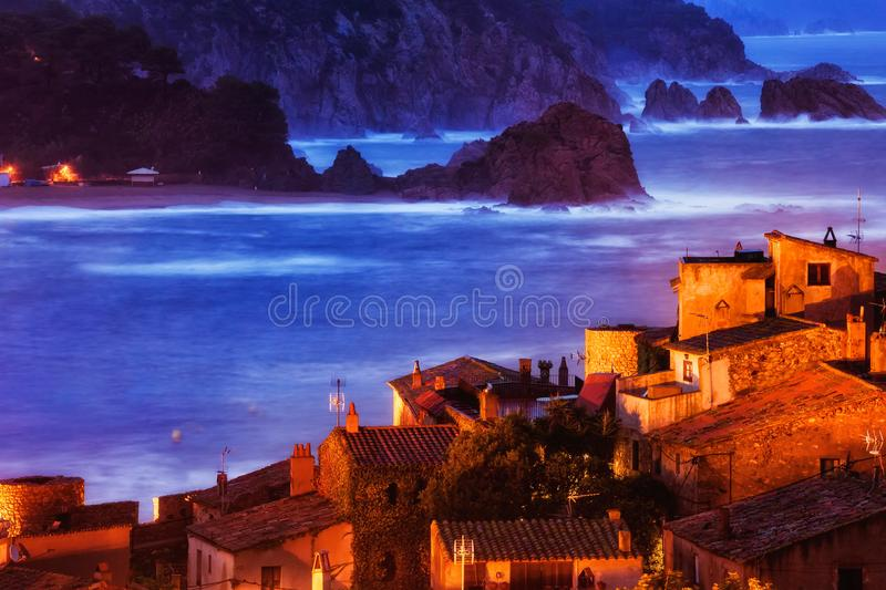 Tossa de Mar Town at Dusk on Costa Brava stock images