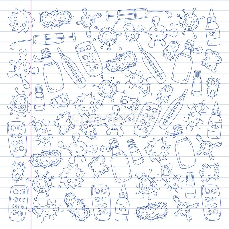 Tosse, comprimidos, gripe, gripe, doença Teste padrão do vetor com ícones da garatuja Cuidados médicos e medicina ilustração do vetor