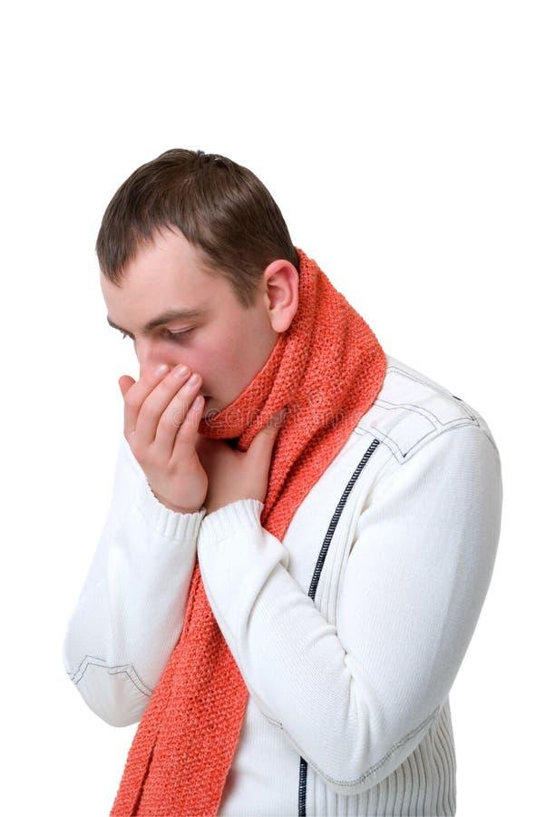 Tosse dell'uomo ammalato fotografie stock libere da diritti
