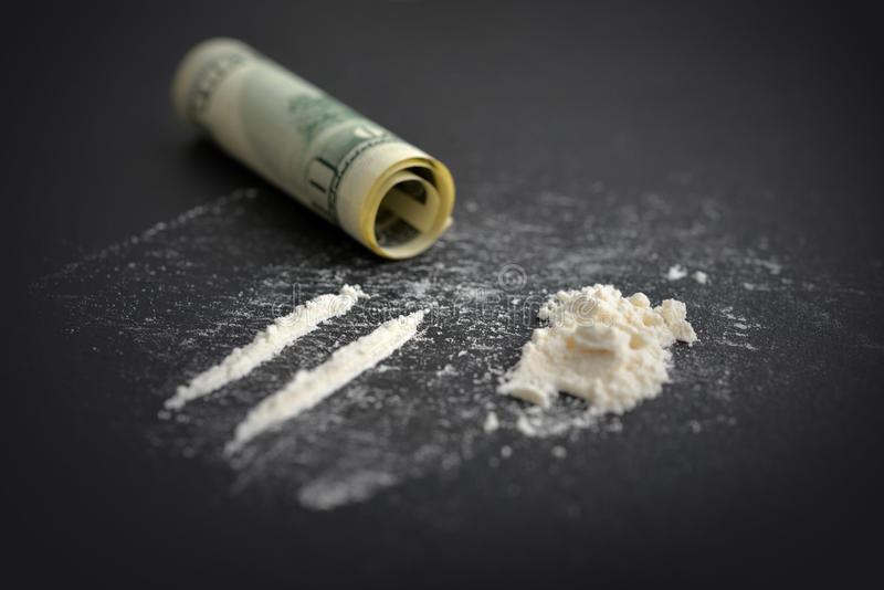 Tossicodipendenza della cocaina fotografia stock libera da diritti