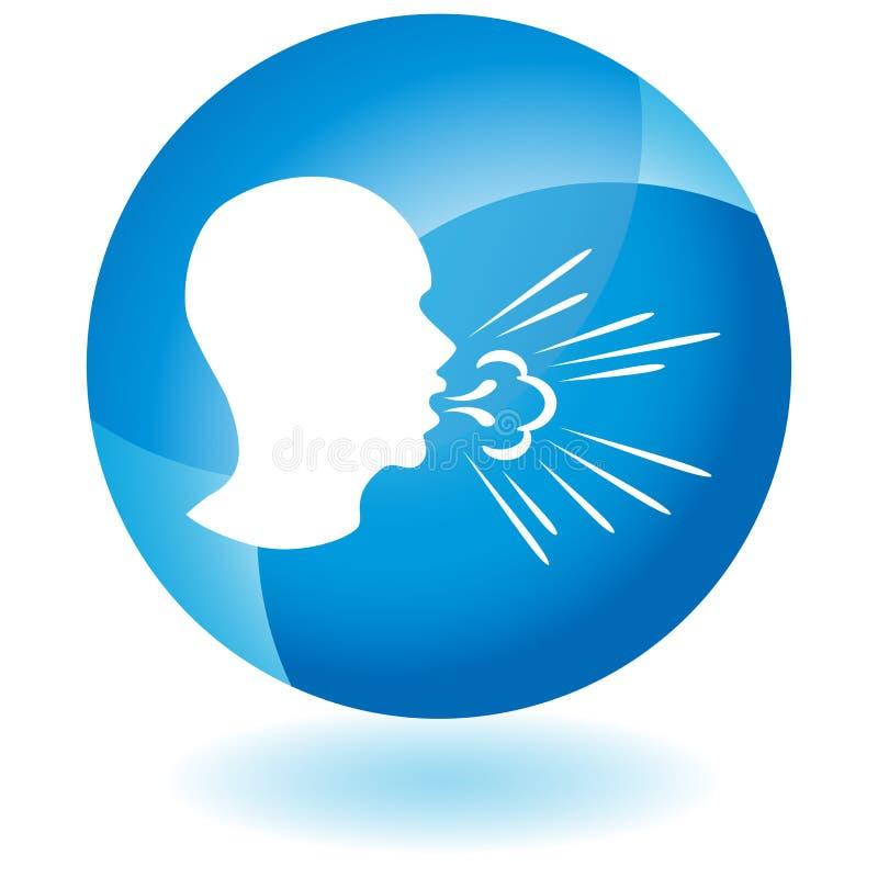 Tossindo o botão de espalhamento dos germes do homem ilustração do vetor