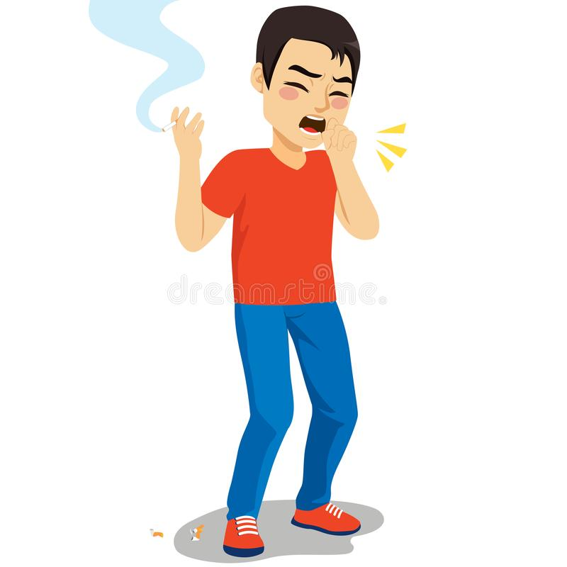 Tossindo o fumo do homem ilustração royalty free