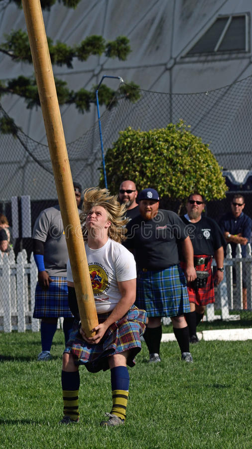 Tossing the caber stock photography