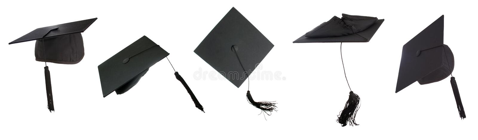 Tossing mortarboards royalty free stock photography