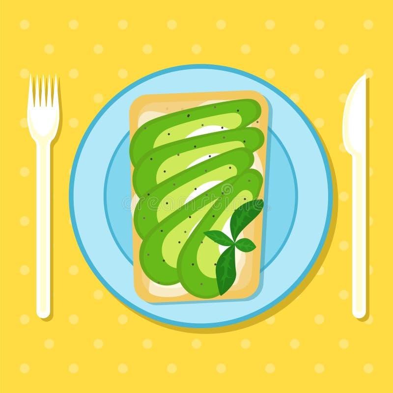 Tostada con las rebanadas de aguacate y la extensión de queso Ejemplo plano del vector La visión desde la tapa libre illustration