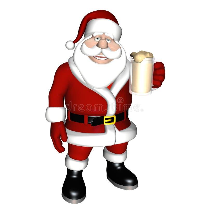 Tostada de la cerveza de Santa stock de ilustración