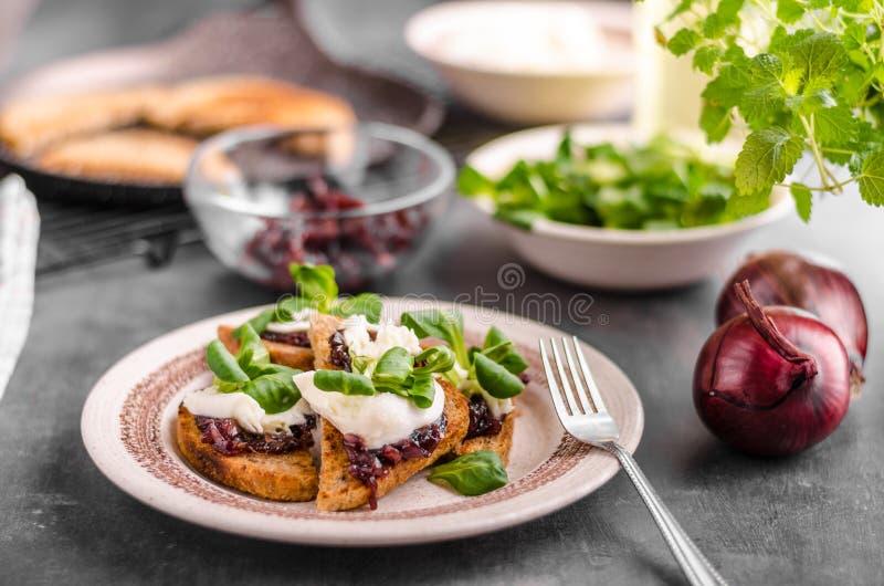 Tostada de la comida de Heatly con la cebolla y la mozzarella imagen de archivo libre de regalías
