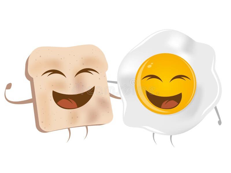 Tostada de la historieta y huevo frito ilustración del vector