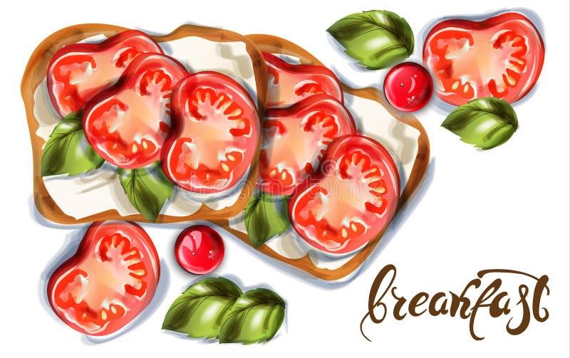 Tostada del desayuno con la acuarela del vector del queso de cabra y de los tomates de cereza Comidas deliciosas stock de ilustración