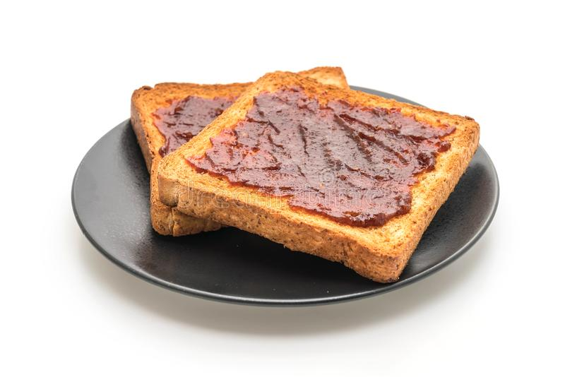 tostada del pan del trigo integral con goma del chile imágenes de archivo libres de regalías