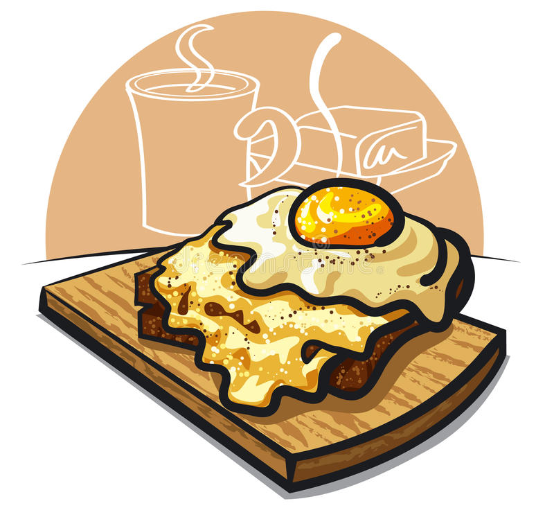Tostada del queso con el huevo libre illustration