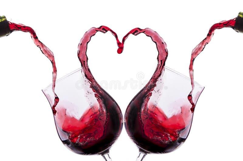 Tostada romántica con el vino rojo imagen de archivo
