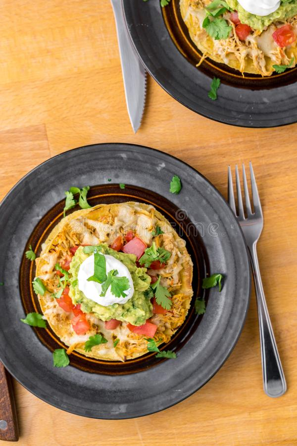 Tostada stack meal from above. stock photo