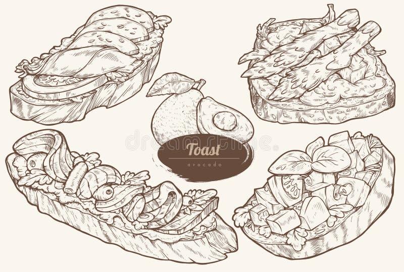 Tostadas del aguacate con diversos desmoches libre illustration