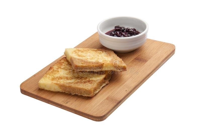 Tostadas del desayuno con el atasco imagen de archivo