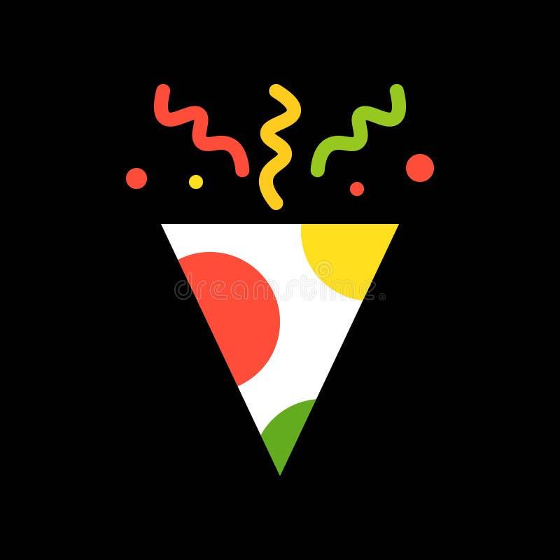 Tostador de palomitas de maíz del sombrero y del arco iris o del partido del Año Nuevo, SE del icono de la Feliz Navidad ilustración del vector