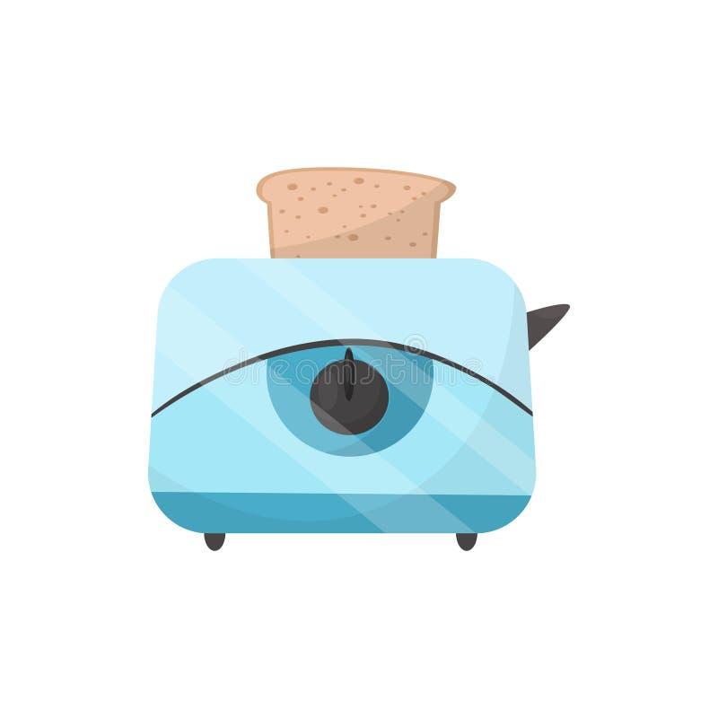 Tostadora con el dispositivo eléctrico de la tostada fresca Aplicación de cocina moderna Vector plano para el cartel del promo de ilustración del vector