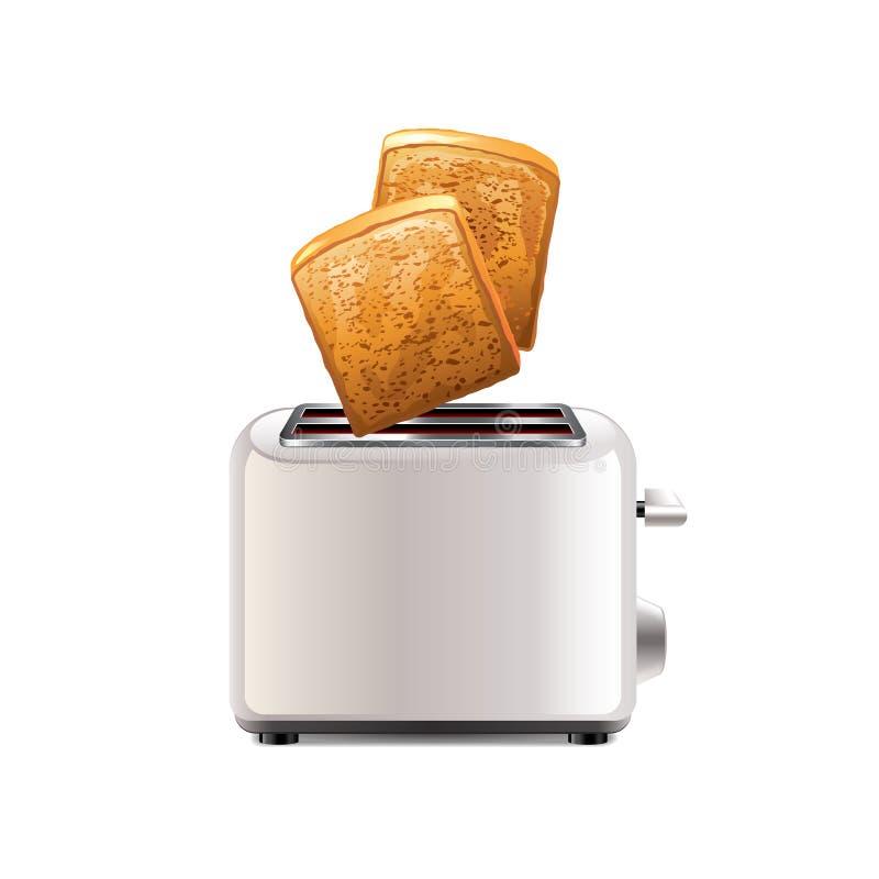 Tostadora con la tostada aislada en el vector blanco stock de ilustración