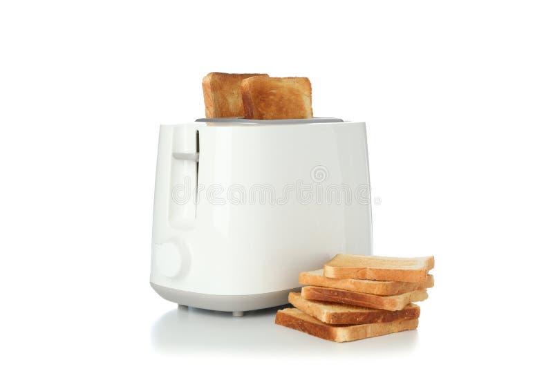 Tostadora y rebanadas de pan aisladas en blanco imágenes de archivo libres de regalías