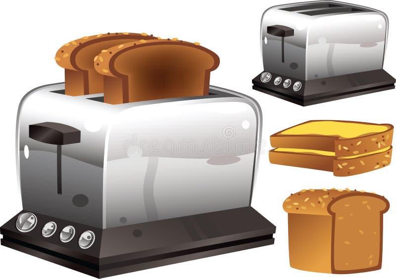 Tostapane e pane illustrazione vettoriale