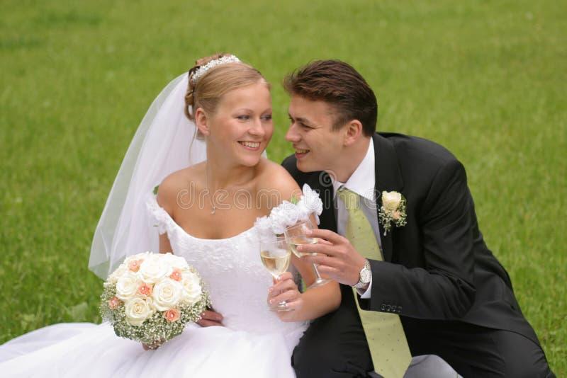 Tostatura dello sposo e della sposa   fotografia stock