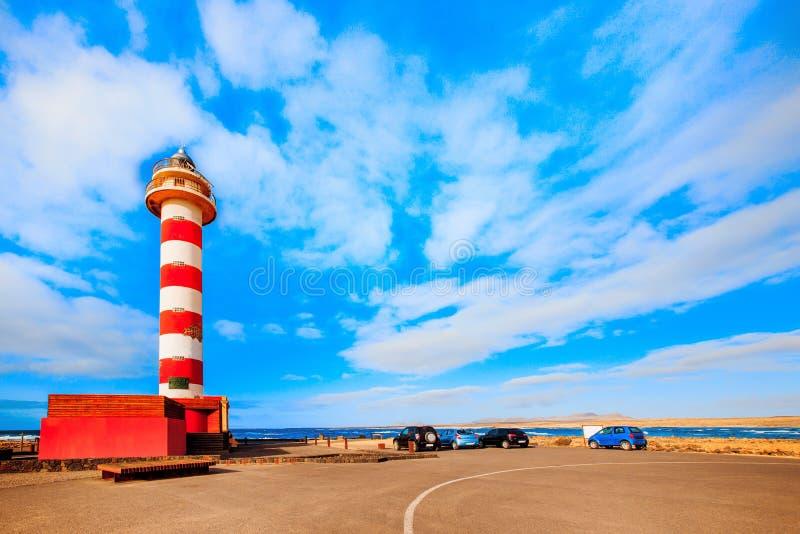 Toston-Leuchtturm in EL Cotillo in Kanarischen Inseln Fuerteventuras stockfoto