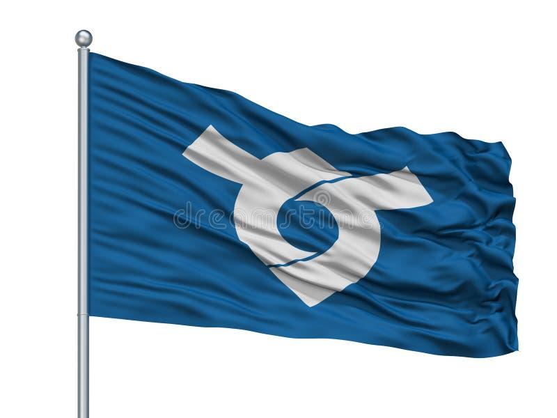 Tosu-Stadt-Flagge auf Fahnenmast, Japan, Saga-Präfektur, lokalisiert auf weißem Hintergrund lizenzfreie abbildung