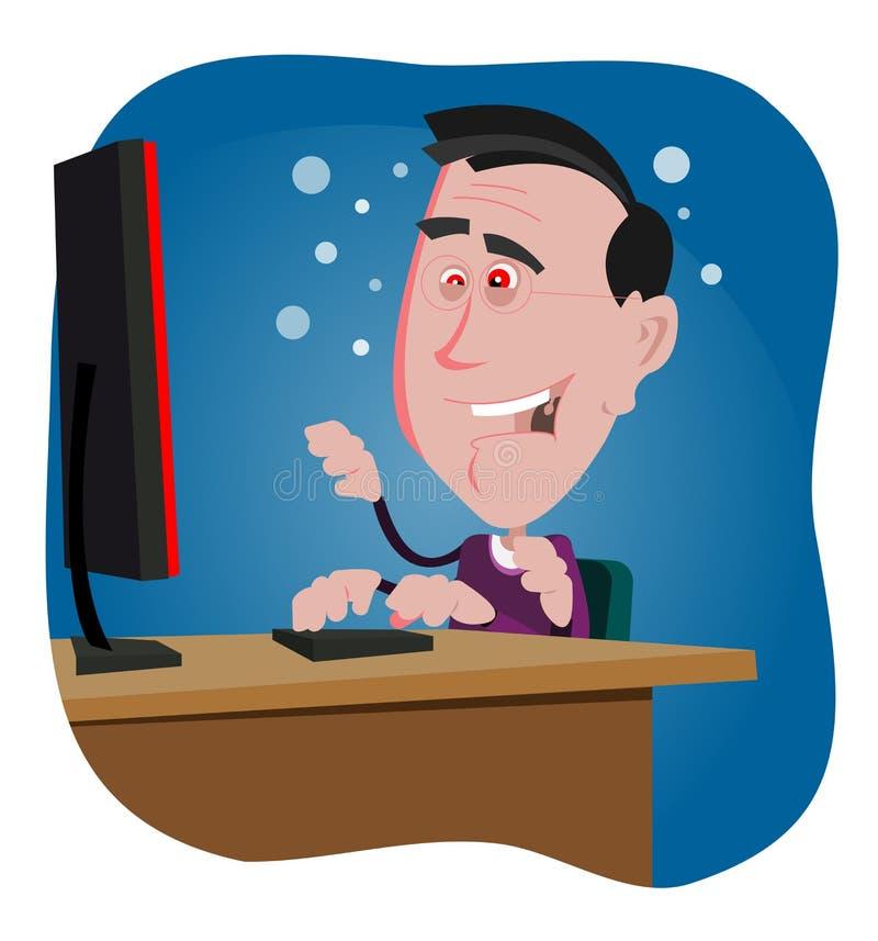 Totó Addicted do computador ilustração do vetor