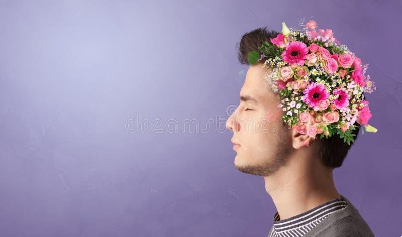 Tot bloei gekomen hoofd met kleurrijke bloemen royalty-vrije stock afbeeldingen