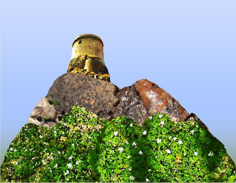Tot bloei komend berglandschap met een kasteel stock illustratie