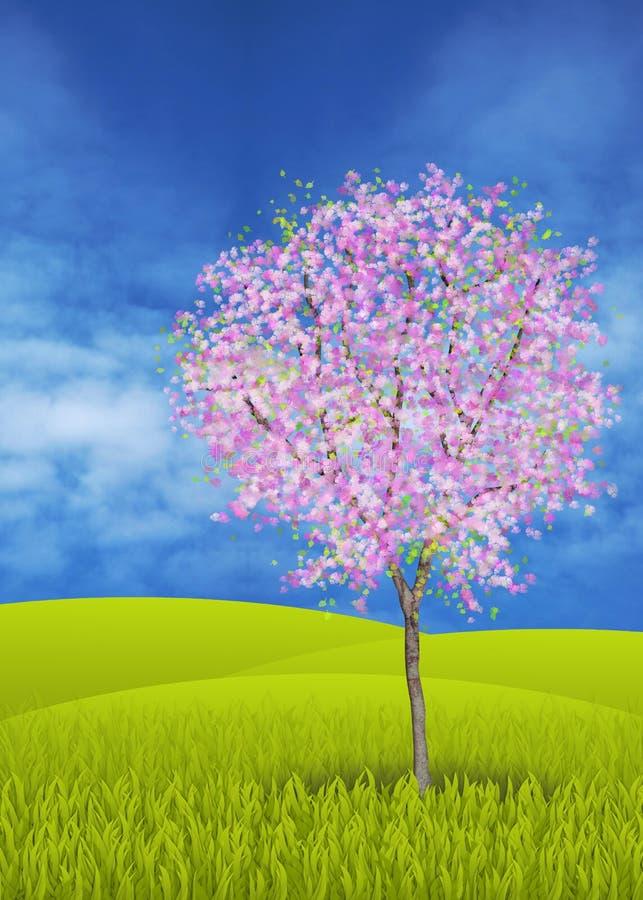 Tot bloei komende appelboom stock illustratie