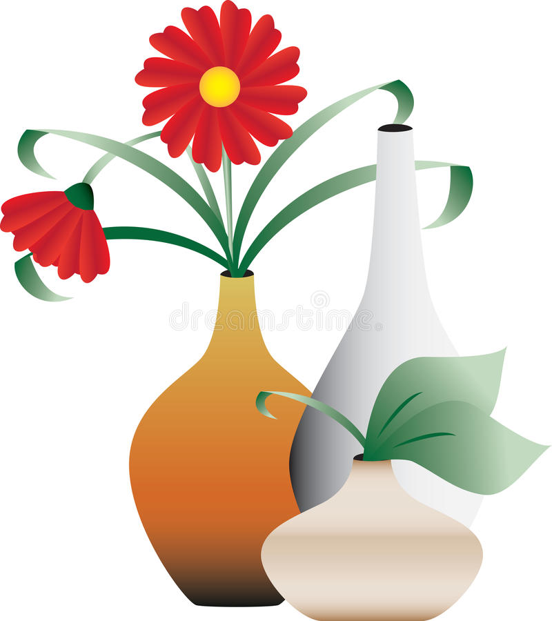 Tot bloei komende bloemen in vazen royalty-vrije illustratie