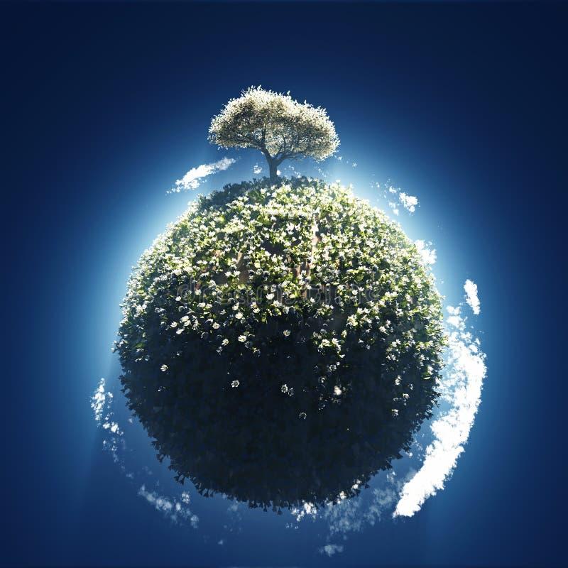 Tot bloei komende boom op kleine planeet royalty-vrije illustratie