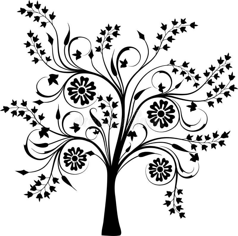 Tot bloei komende boom, vector vector illustratie