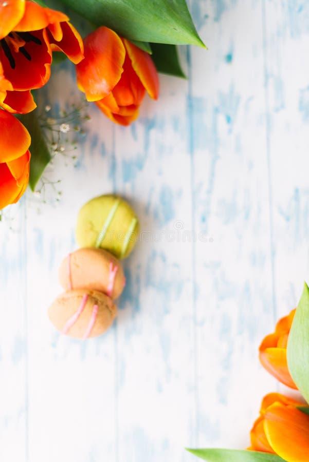 Tot bloei komende tulpen met makarons op een lichte houten achtergrond Stilleven, de lenteconcept stock fotografie