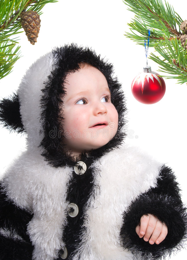 Tot and festive toy.branch of the pine royalty free stock photo