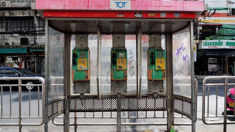 TOT public pay phones in Bangkok royalty free stock images