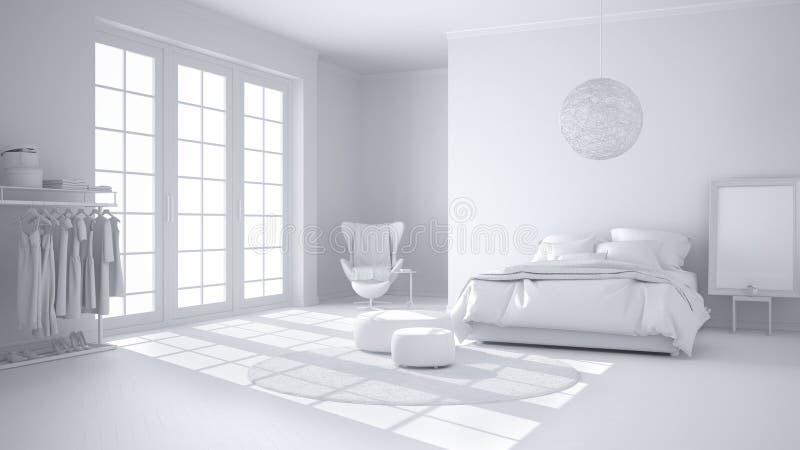 Totaal wit project van comfortabele moderne slaapkamer met houten parketvloer, panoramisch venster, tapijt, leunstoel en bed met stock illustratie