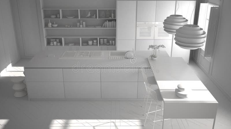 Totaal wit project van modern keukenmeubilair in klassieke ruimte, oud parket, hoogste mening, minimalistisch architectuur binnen stock fotografie