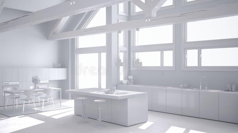 Totaal wit project van moderne keuken in klassieke villa, zolder, bi royalty-vrije illustratie