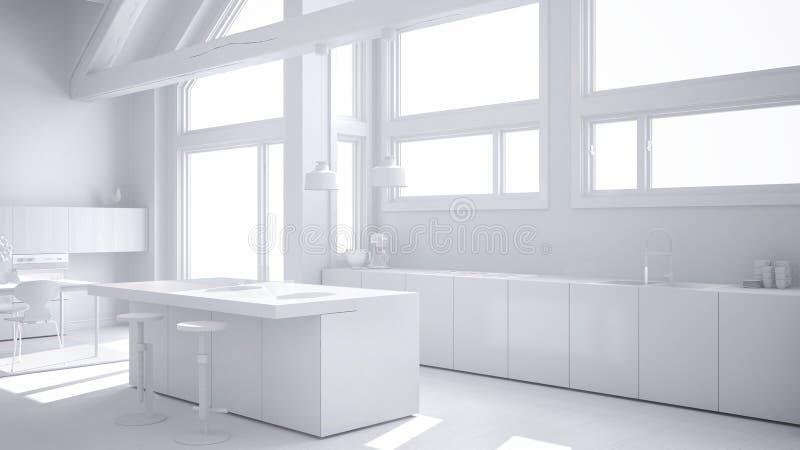 Totaal wit project van moderne keuken in klassieke villa, zolder, bi stock illustratie