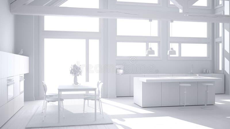 Totaal wit project van moderne keuken in klassieke villa, zolder, bi vector illustratie