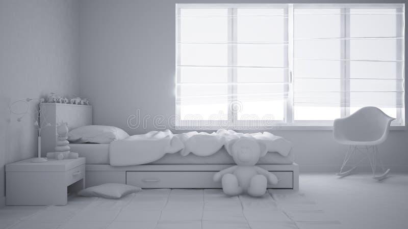 Totaal wit project van moderne kindslaapkamer met eenpersoonsbed, speelgoed en panoramisch venster, eigentijds binnenland stock foto's