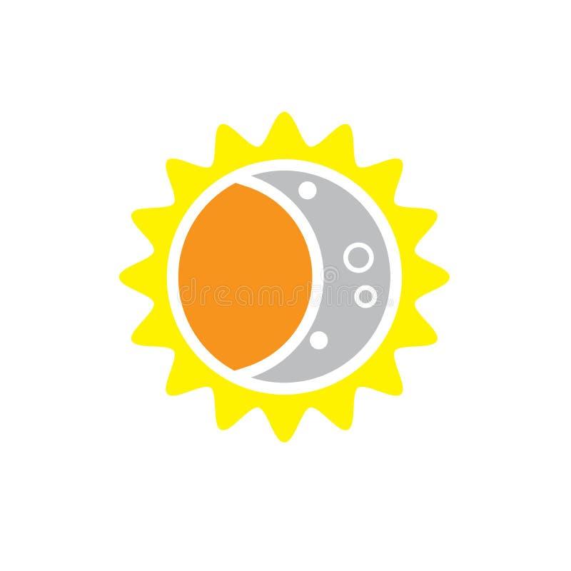 Totaal Zonneverduisteringspictogram op 8 Augustus, 2017 stock illustratie