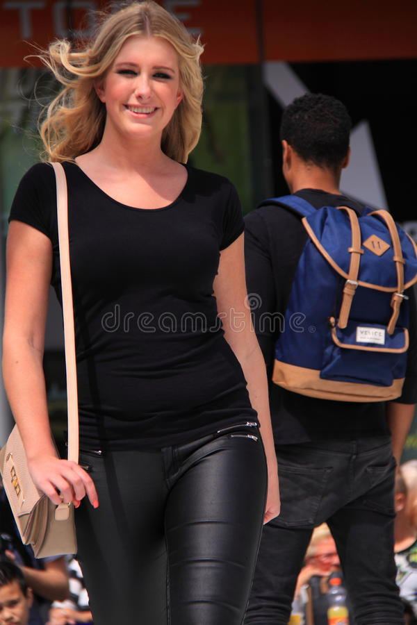 Total black outfit fashion show candid royalty free stock photography